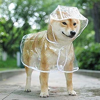 WELLXUNK Imperméable pour Chien,Poncho pour Animal,Manteau Chien Imperméable,Léger en Plastique Transparent,Résistant à la Pluie et à l'eau,pour Petite,Moyenne et Grands Chien (XXL, Transparent)