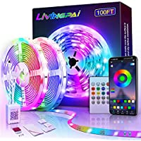 LiviNGPAi 100ft Led Strip Lights with Remote Control for Home Kitchen Living Room and Party Decoration