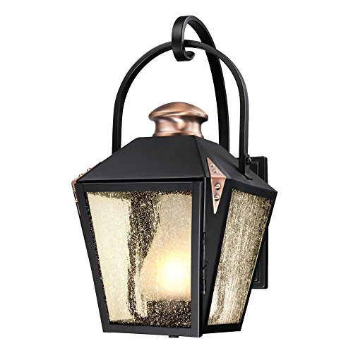Westinghouse Lighting 6312300 Valley Forge One-Light Outdoor Wall Lantern, Matte Black Finish with Copper Accents and Frosted Chimney in Clear Seeded Glass