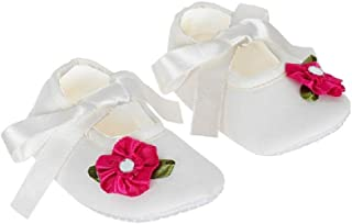 Rsmart Anti Skid Ribbon Closure Booties Shoes with Pink Flower for Baby Girl & Boy, White
