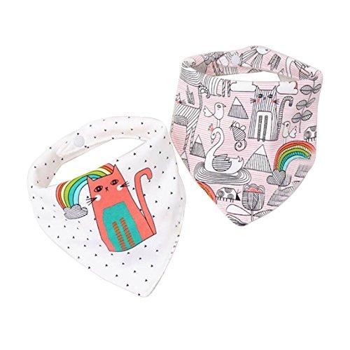 CuteOn Baby Bandana 2-Pack Super Absorbens Katoen Dribble Bibs Baby Gift Set voor pasgeborenen Baby's Onesize Regenboog