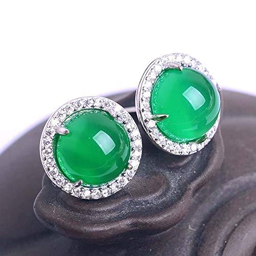 K-ONE Adorno de Oreja de ágata Verde Natural Puro para uñas de Miel de Jade Verde con Incrustaciones de Plata 925