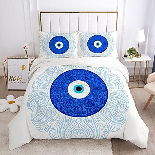 QDoodePoyer Bettwäsche-Set 260x220cm 80x80cm Blau Mode Blume MusterBettwäsche für Teenager & Jugend · 2 teilig · Wendemotiv · 2 Kissenbezug 80x80 + 1 Bettbezug 260x220cm