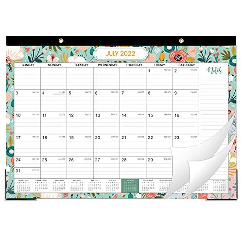 "2021-2022 Desk Calendar - 2021-2022 Monthly Desk Calendar, July 2021 - December 2022, Desk/Wall Monthly Calendar , 17"" x 12"", Large Ruled Blocks with Julian Date for Planning and Organizing"