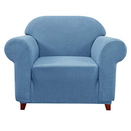 Subrtex - Funda de sofá extensible para sofá con reposabrazos elástico, 1 plaza, color azul
