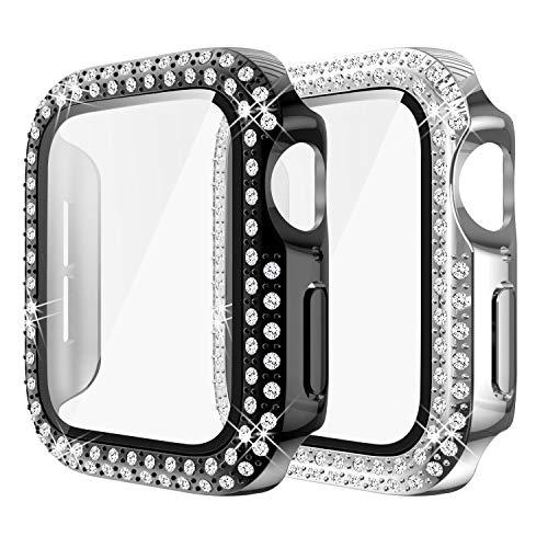 Yolovie (2-Stück) Kompatibel für Apple Watch 38mm Hülle für Serie 3 2 1 Gehäuse mit Displayschutzfolie aus gehärtetem Glas, Bling Cover Diamonds für iWatch Girl (38mm Schwarzes/ Silber