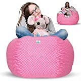 Kroco Stuffed Animal Storage Bean Bag Chair for Kids Room | Stuff n sit Toy Storage Pouf | Beanbag Cover for Girls & Boys | Creative Organizer Seat Holder | Extra Large - Giant 38'' Pink with dots