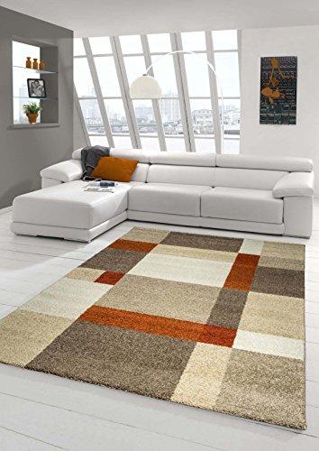 Designer Teppich Moderner Teppich Wohnzimmer Teppich Kurzflor Teppich Barock Design Meliert Braun Beige Terrakotta Größe 120x170 cm