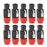 Niiyen Conector de Altavoz de Audio, 10 Piezas C-nl4fc Conector de Altavoz de Audio Conector de Cable de Enchufe Speakon de 4 Pines Impermeable, Buena conductividad eléctrica, fácil operación(Rojo)