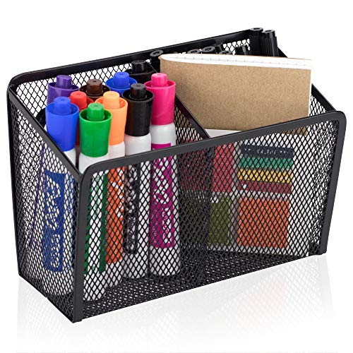 Workablez Magnetic Pencil Holder - 2 Generous Compartments Magnetic Storage Basket Organizer - Extra Strong Magnets - Perfect Mesh Pen Holder to Hold Whiteboard, Locker Accessories