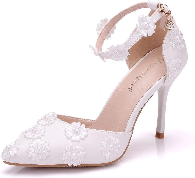 Q&YYUE Hochzeit Schuhe Damen Sandalen Die WeiE Spitze Blaumen Geschlitzt Strap Brautschuhe Mit Feiner 9CM