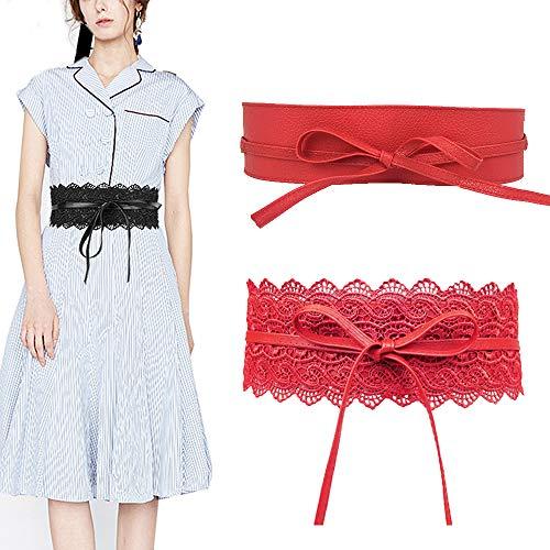 Jurxy 2 PCS Damen Spitze Breite Gürtel Leder Bowknot Taille Band Kleid Taillengürtel - Rot