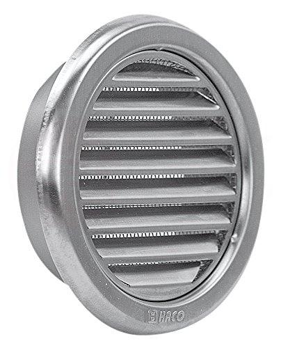 MKK Wetterschutz Lamellen Edelstahl Lüftungsgitter Ø 100 mm Zuluft Abluft rund mit Insektennetz Garage Küche Bad Wand Lufthaube
