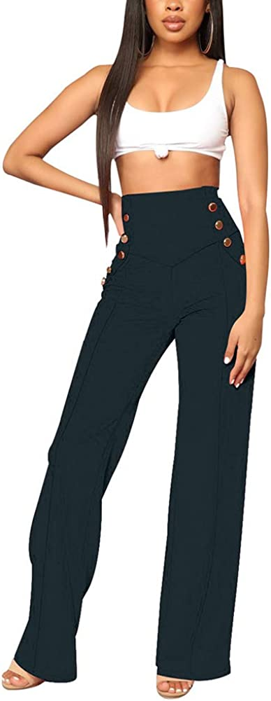 ECHOINE Women's Wide Leg Long Pants - Casual Stretchy High Waisted Button Down
