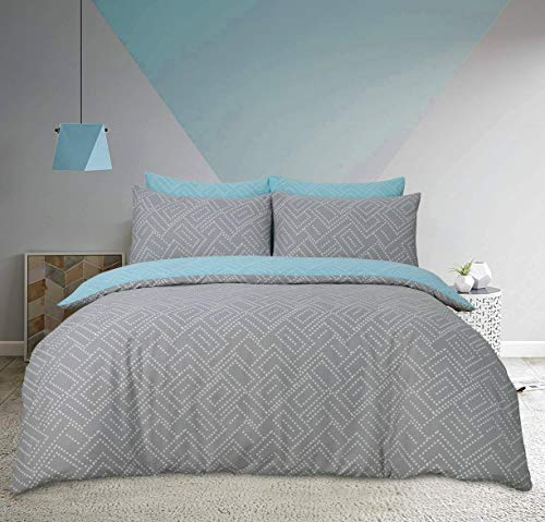 Sleepdown Square Dot Geo Grey Reversible Soft Duvet Cover Quilt And Bedding Set With Pillowcases - Double (200cm x 200cm)