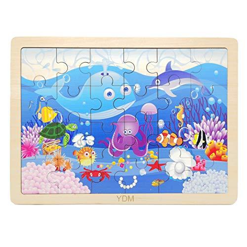 EACHHAHA Rompecabezas de Madera para niños pequeños Ocean World Adecuado para niños de 3 años con Bolsa de Almacenamiento y Soporte
