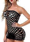 Vorifun Women Fishnet Lingerie V-Neck Sleepwear One Size One Piece Babydoll Mini Dress One Piece Black