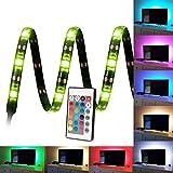 Kohree Ruban LED RGB Flexible Bandeaux LED RGB USB Bande lumineuse Lumière Ambiance Multicouleur avec Télécommande Rétroéclairage pour Téléviseur Ecran Ordinateur Salon Bureau 90cm 27leds