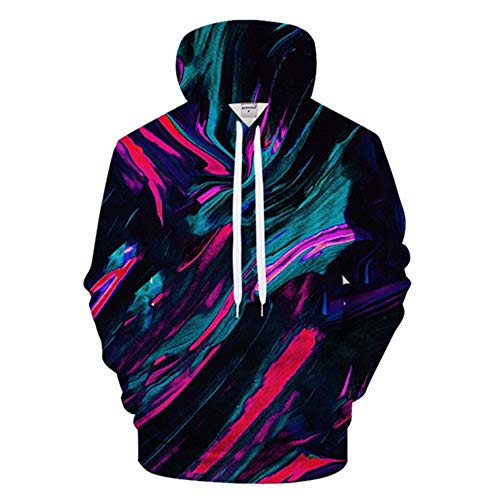 XIELH Pullover Kleurrijke 3D hoodies mannen bedrukken hoody trainingspak mode sweatshirt lange mouwen pullover mantel
