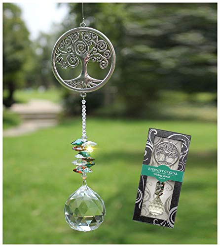 Rosleanny Crystal Garden Suncatcher Hanging Crystals Ornament for Window Rainbow Maker Prisms Home Decor Gift Boxed Sun Catcher Gift Idea for Mom Friends GrandmaTree of Life