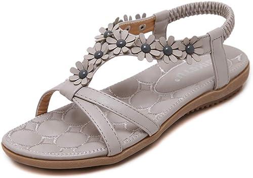Xuyaowzr MesLes dames dames Douces Sandales Fleurs Bohème Femmes Chaussures Chaussures De Plage De Grande Taille  bénéfice nul
