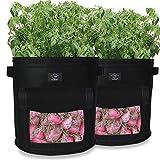 Laxllent Sacs de Plantation de Jardin,2PCS 9 Gallons Sac de Legumes, Tissu Non-tissé Sac de Plantation de Pommes de Terre à Fenêtre (2,Noir)