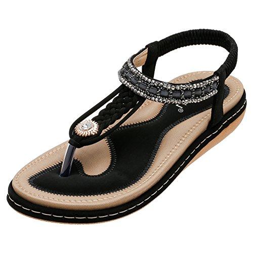 SANMIO Damen Sandalen, Frauen Flach Zehentrenner Bohemian Strass Sandaletten Sommer PU Leder Sandals- Gr. 39 EU (Etikettgröße: 40), Schwarz