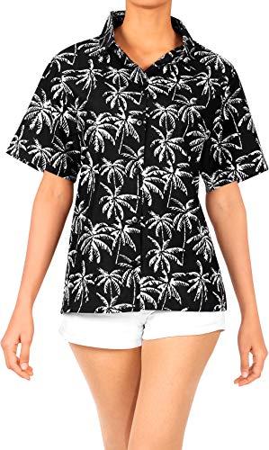 LA LEELA Camisa Hawaiana para el Vestido de Las Mujeres hasta el botón Halloween Negro_AA193 M - ES Tamaño :- 44-46