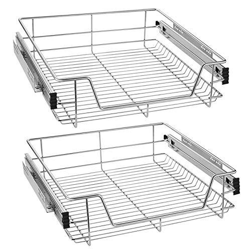 UISEBRT 2x Cajón de cocina Cajón telescópico 60cm - Armario extraíble de cocina (60cm)