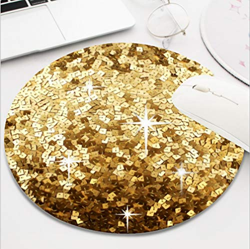 Ydset Bling Gold Sequin Print Custom Mouse Pad Waterproof Material Non-Slip Rubber Round Mouse Pad(7.8x7.8x0.08inch) for Office Desktop or Gaming Mouse Mat Keyboard Pad