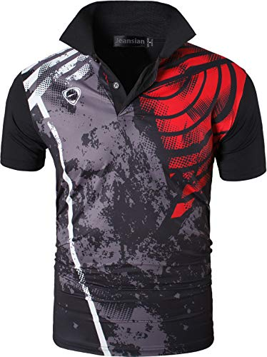 jeansian Herren Summer Sportswear Wicking Breathable Short Sleeve Quick Dry Polo T-Shirts Wicking Breathable Running Training Sports Tee Tops LSL252 Black L