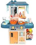 MALATEC Kinderküche Spielküche Zubehör Funktion Wasserhahn Kaltdampf 42 Elemente 9569, Farbe:Dunkelblau