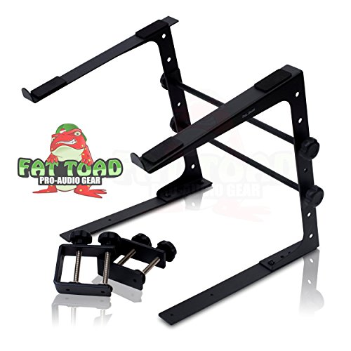 DJ Laptop Computer Stand by Fat Toad | Portable PC Table with Durable Rack Mount Clamp Case L Gear Bracket|Mobile Disc Jockey Equipment|For Pro-Audio Controller Mixer Studio|Fits All Laptop Sizes