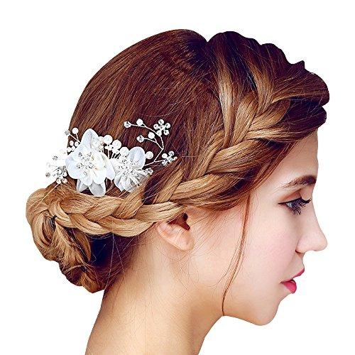 Contever® Tüll Blume Sicke Simulierte Perlen Braut Side Kammspange Haarschmuck Haarschmuck für Brauthochzeits Abschlussball Partei (Weiß)