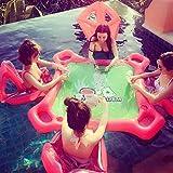Wushuang Table De Poker Mahjong De Flotteur Gonflable Géant De Piscine Et 4 Chaises Réglées pour Le Jouet De Jeu d'eau Adulte De Texas Holdem pour La Fête De Piscine