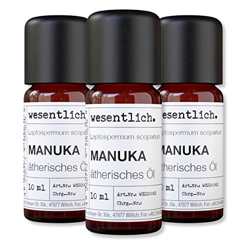 wesentlich. Manukaöl - ätherisches Öl - 100{efd87948eca4375d44f9da5966dc3713a6ab77d90fe151084294d877d0af37c9} naturrein (Glasflasche) - u.a. für Duftlampe und Diffuser (3x10ml)
