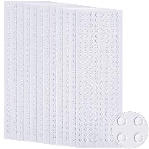 2400 Stücke Schaumstoff Punkte Doppelkleber 3D Schaum Bänder Schaum Pop Punkte Klebebefestigung für Handwerk DIY Kunst oder Büro Zubehör, 12 Blätter, Rund (0,12 Zoll)