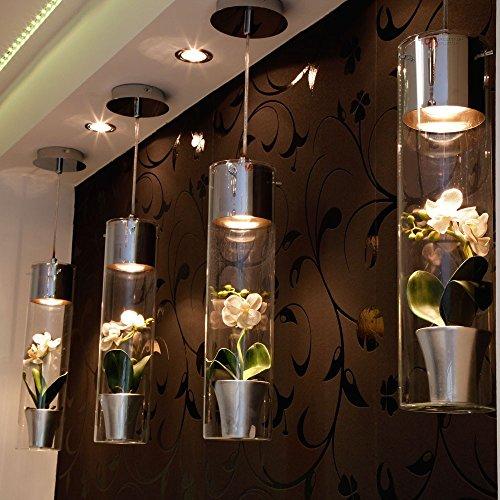 s.LUCE MyLight Glas-Hängelampe mit Schauzylinder 40cm chrom Deko-Lampe Glas-Hängelampe Glas-Hängeleuchte Glas-Pendelleuchte Glas-Pendellampe Restaurant-Lampe Bar-Lampe Küchenlampe Küchenleuchte