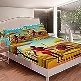 Primitive Sheets African Tribe Juego de sábanas para niños y adultos, juego de ropa de cama para caza de supervivencia de pastizales africanos, colección de dormitorio, 2 unidades de tamaño individual