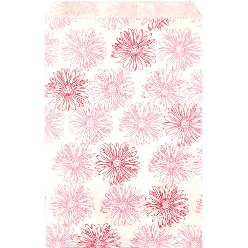 "Caddy Bay Collection 200 pcs Flower Paper Gift Bags Shopping Sales Tote Bags 6"" x 9"" White with Pink Red Flower Design"