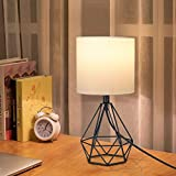Depuley Modern Table Lamp for Bedroom,Geometric Bedside Lamp with Black Hollowed Out Metal Base and Fabric Shade, Nightstand Lamps for Living Room,Office(5W E26 Warm Light LED Bulb Incl)