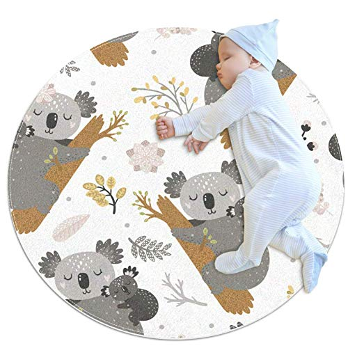 rogueDIV Tapis rond en coton super doux pour bébé et enfant Motif koala et fleurs 80 x 80 cm