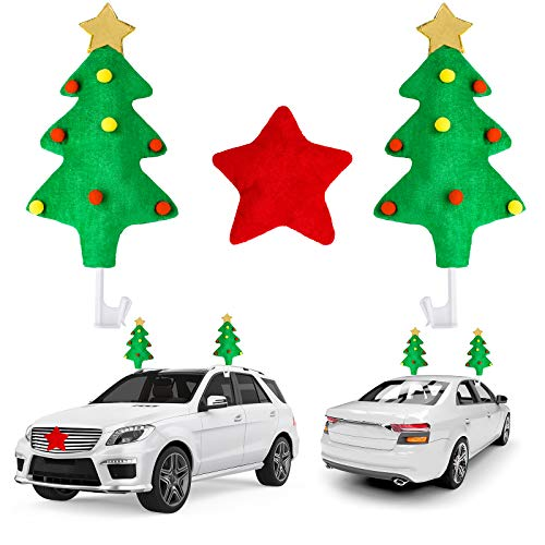 URATOT Holiday Car Reindeer Antlers Christmas Car Decorations Car Christmas Tree Reindeer Antlers Nose Holiday Car Window Christmas Decorations for Winter Giving