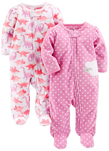 Simple Joys by Carter's Baby Girls' 2-Pack Fleece Footed Sleep and Play, Dino/Lambs, 3-6 Months