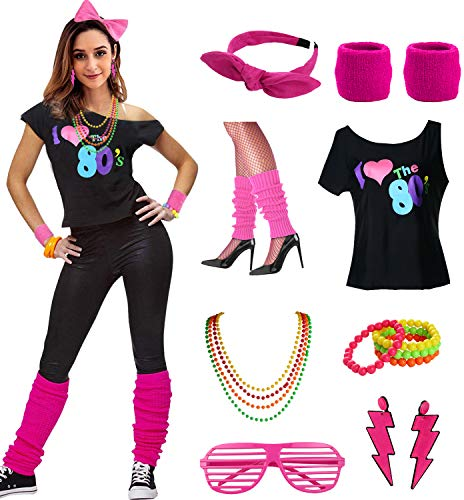 esrtyeryh Women Costume Womens I Love The 80's Disco 80s Costume Outfit Accessories, Hot Pink, M/L