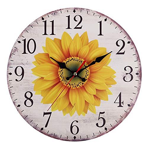 Orologio da parete, orologio da parete in stile europeo, silenzioso, non ticchettio per fiori, grande orologio da parete rustico vintage, a batteria, decorativo per la casa