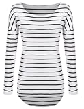 Black and White Striped Shirt Tops Plus size (XXL, Black and White)