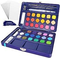 Conjunto de Pintura de Acuarela, 36 Colores Vibrantes y Surtidos, Juego con Colores Sólidos, Incluye Caja de Transporte...