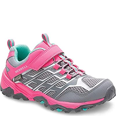 Merrell Kids' Unisex M-Moab Fst Low A/C Wtrpf Hiking Shoe, Grey/Coral, 6 Medium US Big Kid