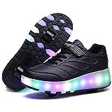 Calababa 2019 - Zapatillas para niños con luz LED, con Cesta de Carga USB, Zapatos para niños y niñas, Zapatillas Luminosas Doradas Plateadas, Color Negro, 5